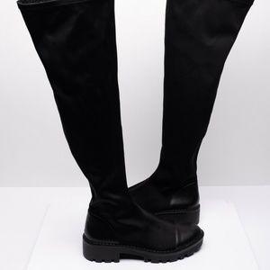 Zara Womens Tall Lug Soled Boots Sz 9 Eu 40 Black